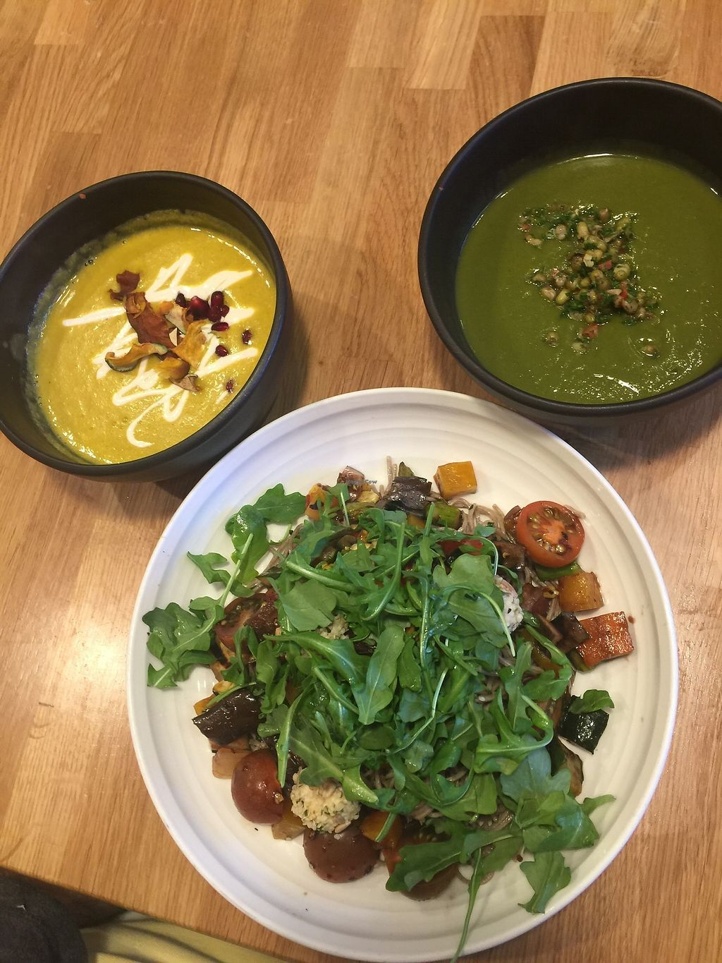 "Photo of Parakeet Cafe  by <a href=""/members/profile/vegansuncake"">vegansuncake</a> <br/>kobocha squash soup, vegan bowl and green soup <br/> January 13, 2018  - <a href='/contact/abuse/image/105567/346012'>Report</a>"