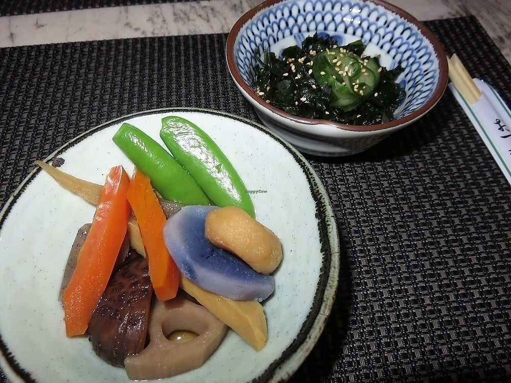 """Photo of Amatsu  by <a href=""""/members/profile/TrudiBruges"""">TrudiBruges</a> <br/>Shiitake, lotus root, sugar snaps, daikon, konjac, wakame, bamboo, water chestnut, truffle potatoe, with seaweed side dish, Amatsu, Ghent <br/> November 21, 2017  - <a href='/contact/abuse/image/105618/327881'>Report</a>"""