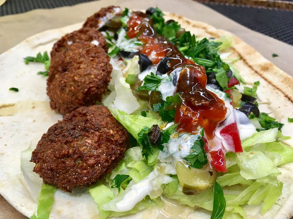 """Photo of Eat Falafel  by <a href=""""/members/profile/Kolbrunisti"""">Kolbrunisti</a> <br/>Vegan falafel durum with tahin and chilli dressing <br/> December 1, 2017  - <a href='/contact/abuse/image/105648/331066'>Report</a>"""
