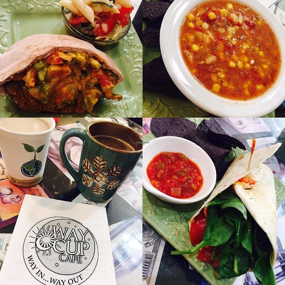 """Photo of Way Cup Cafe  by <a href=""""/members/profile/BeccaBochenek"""">BeccaBochenek</a> <br/>Falafel with guacamole, hummus, onion, tomato, cucumber V, Vegetarian soup, Autumn spice latte with coconut milk, Earth Lovers Wrap- Hummus, honey, sunflower seeds, cucumber, carrots, tomato Vegan w/o honey.  <br/> November 23, 2017  - <a href='/contact/abuse/image/105649/328502'>Report</a>"""