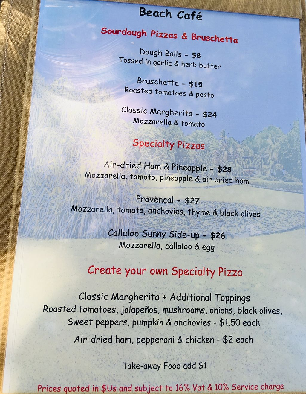 """Photo of Cotton House Beach Cafe  by <a href=""""/members/profile/veganmom"""">veganmom</a> <br/>Pizza Menu <br/> November 22, 2017  - <a href='/contact/abuse/image/105673/328126'>Report</a>"""