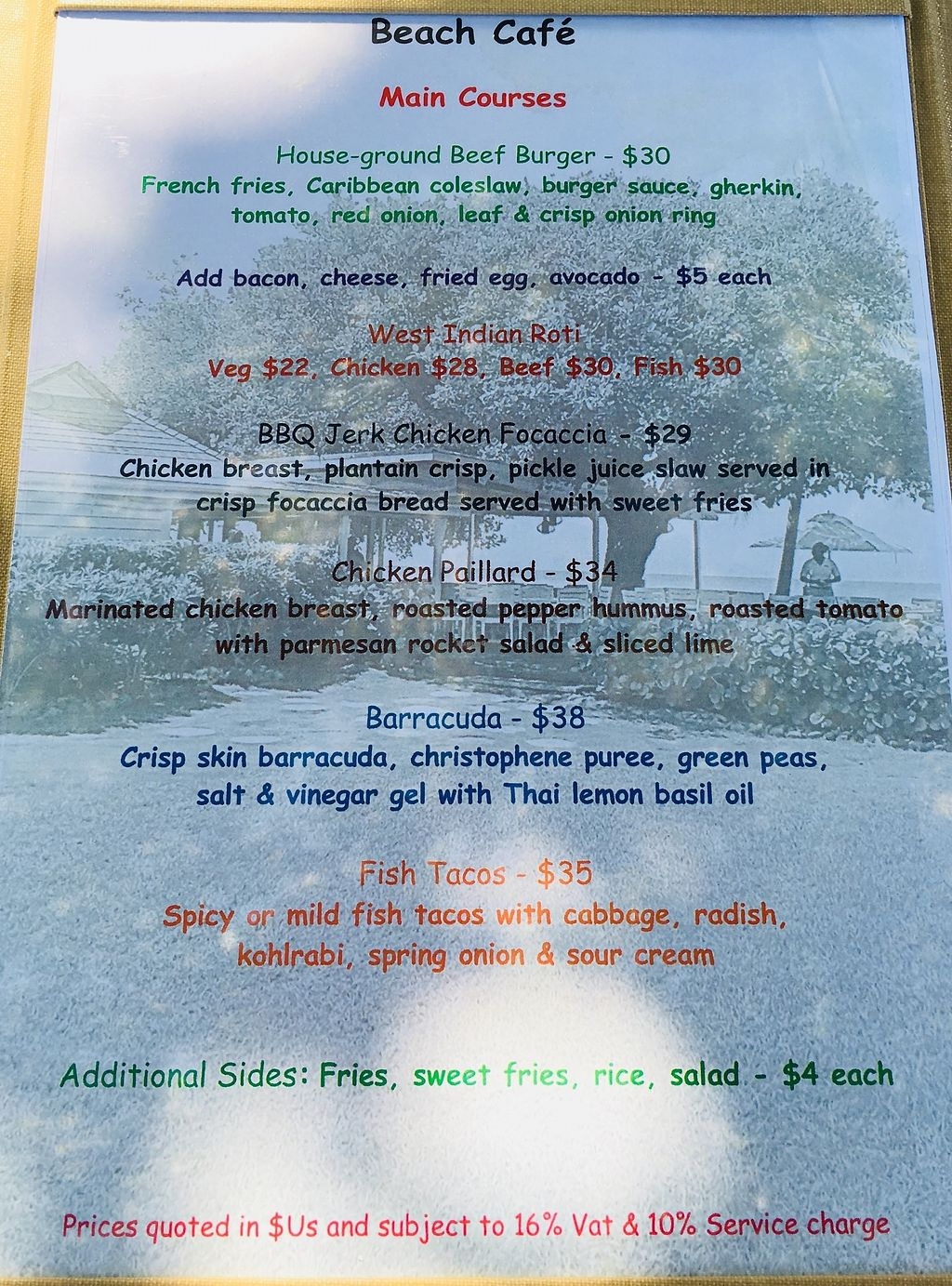 """Photo of Cotton House Beach Cafe  by <a href=""""/members/profile/veganmom"""">veganmom</a> <br/>Main menu  <br/> November 22, 2017  - <a href='/contact/abuse/image/105673/328127'>Report</a>"""