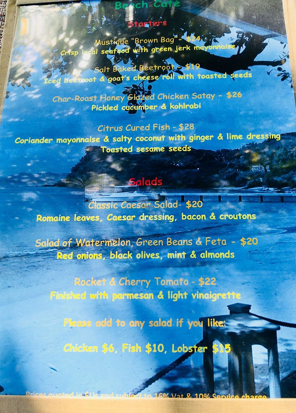 """Photo of Cotton House Beach Cafe  by <a href=""""/members/profile/veganmom"""">veganmom</a> <br/>Starters menu  <br/> November 22, 2017  - <a href='/contact/abuse/image/105673/328128'>Report</a>"""