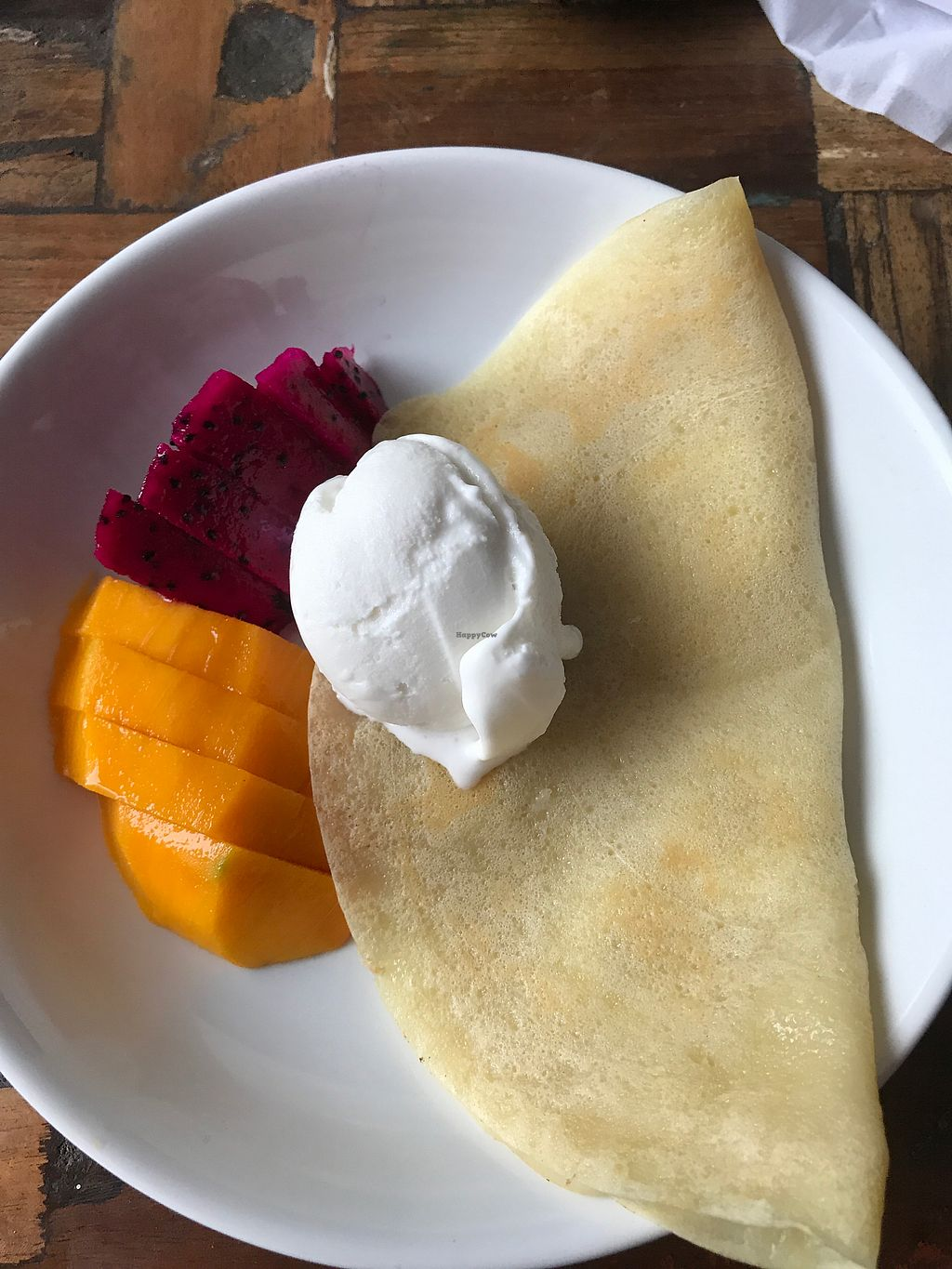 """Photo of Tasty Vegan - Poppies  by <a href=""""/members/profile/rehinathevegan"""">rehinathevegan</a> <br/>Vegan pancake with ice cream and fruit <br/> November 23, 2017  - <a href='/contact/abuse/image/105682/328307'>Report</a>"""