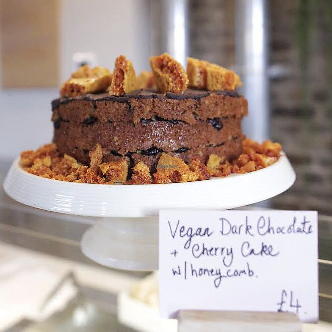 """Photo of The Dayrooms Cafe  by <a href=""""/members/profile/thecharlotte"""">thecharlotte</a> <br/>Vegan dark chocolate cherry cake with honeycomb <br/> November 25, 2017  - <a href='/contact/abuse/image/105692/329130'>Report</a>"""