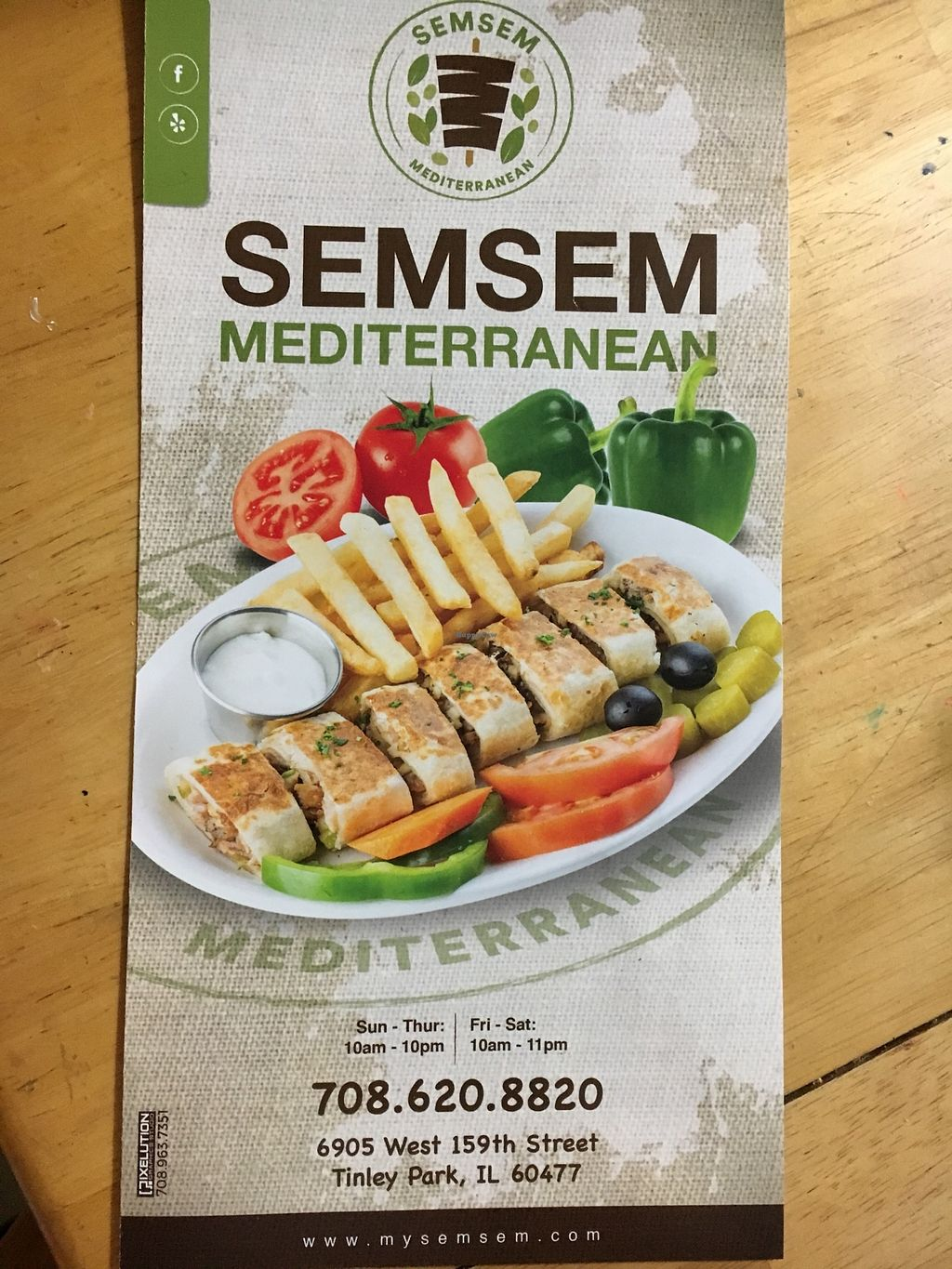 "Photo of SemSem Mediterranean  by <a href=""/members/profile/VeganLew"">VeganLew</a> <br/>Menu <br/> December 23, 2017  - <a href='/contact/abuse/image/105774/338510'>Report</a>"