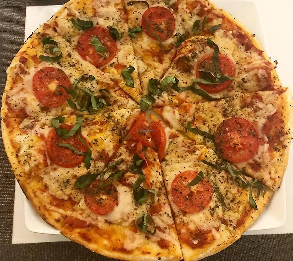 """Photo of Prana Restaurante  by <a href=""""/members/profile/YanethGris"""">YanethGris</a> <br/>Delicious vegan pizza with vegan mozzarella cheese.  <br/> December 31, 2017  - <a href='/contact/abuse/image/105799/341386'>Report</a>"""