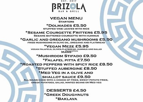 """Photo of Brizola Bar and Grill  by <a href=""""/members/profile/Veganolive1"""">Veganolive1</a> <br/>Vegan Menu <br/> November 24, 2017  - <a href='/contact/abuse/image/105819/328828'>Report</a>"""