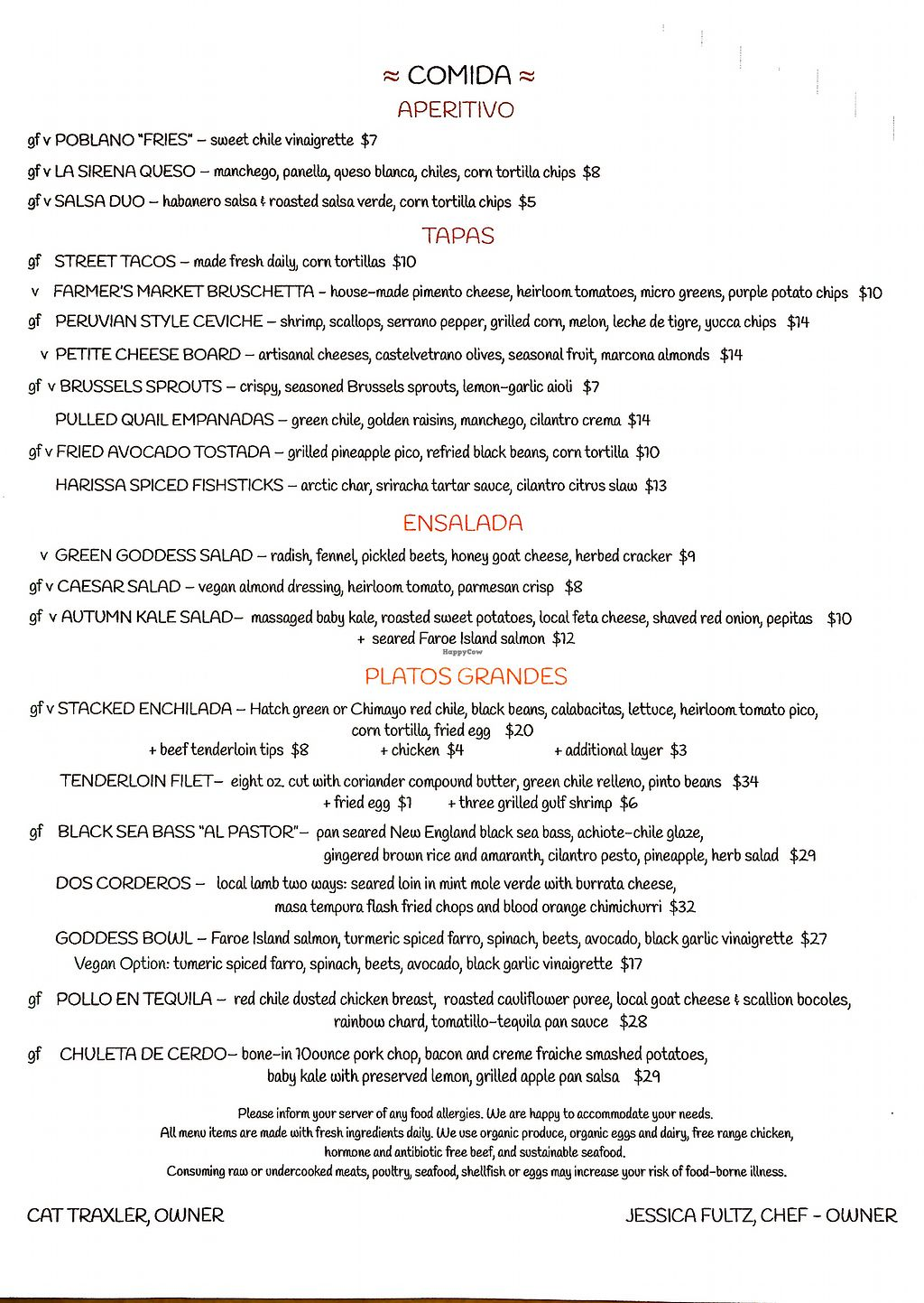 """Photo of Cocina de La Sirena  by <a href=""""/members/profile/JeffJohnson"""">JeffJohnson</a> <br/>Menu from Nov. 22, 2017 <br/> November 24, 2017  - <a href='/contact/abuse/image/105837/328805'>Report</a>"""