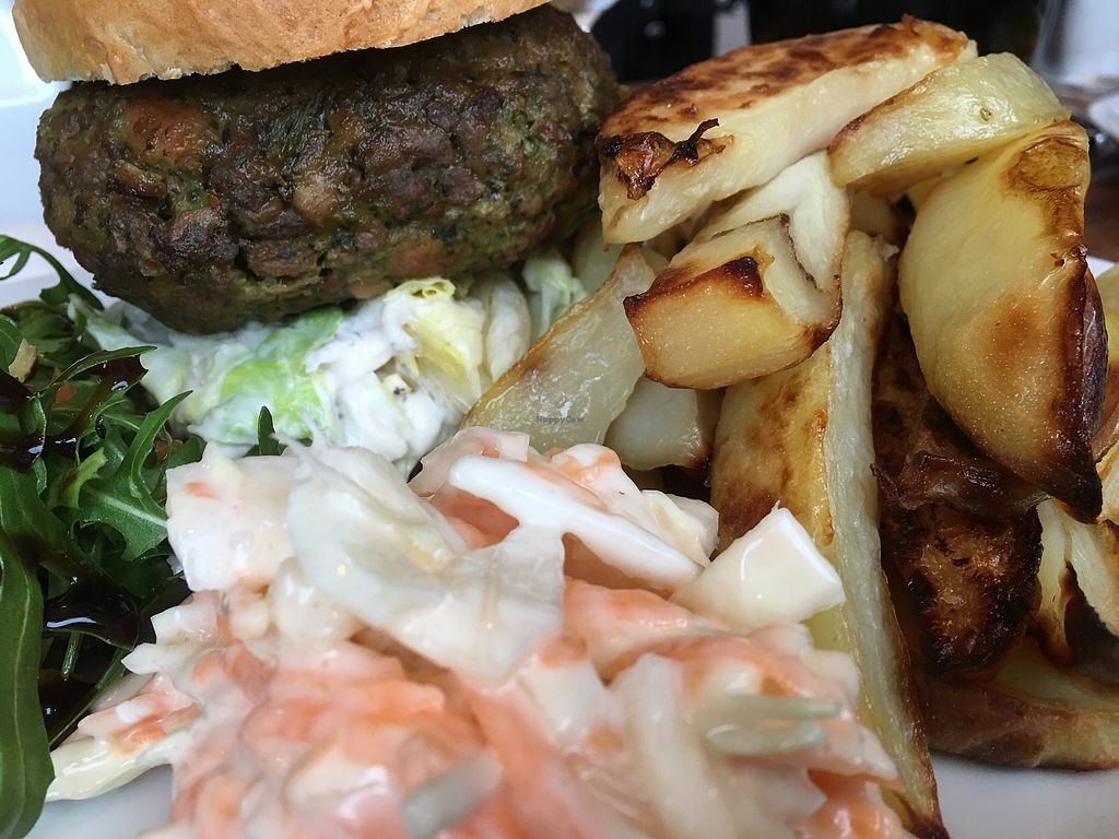 "Photo of Bean Social  by <a href=""/members/profile/hack_man"">hack_man</a> <br/>Pesto Burger with wedges, slaw and salad  <br/> March 31, 2018  - <a href='/contact/abuse/image/105862/378766'>Report</a>"