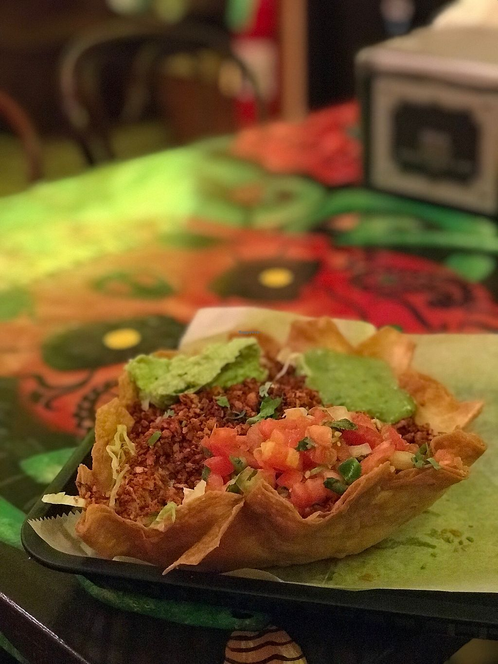 """Photo of El Burro - Regent Square  by <a href=""""/members/profile/nlevine94"""">nlevine94</a> <br/>Flying Saucer: flour tortilla deep fried, lettuce, rice, retried beans, pico, guac, avocado salad, and vegan chorizo (added). The bomb! <br/> November 25, 2017  - <a href='/contact/abuse/image/105872/328878'>Report</a>"""