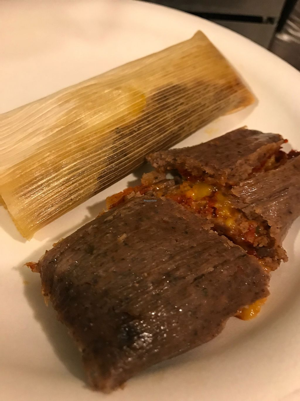 """Photo of The Vegan Tamale Company  by <a href=""""/members/profile/xmrfigx"""">xmrfigx</a> <br/>Red chile and cheez (my fav!) <br/> December 26, 2017  - <a href='/contact/abuse/image/105916/339283'>Report</a>"""