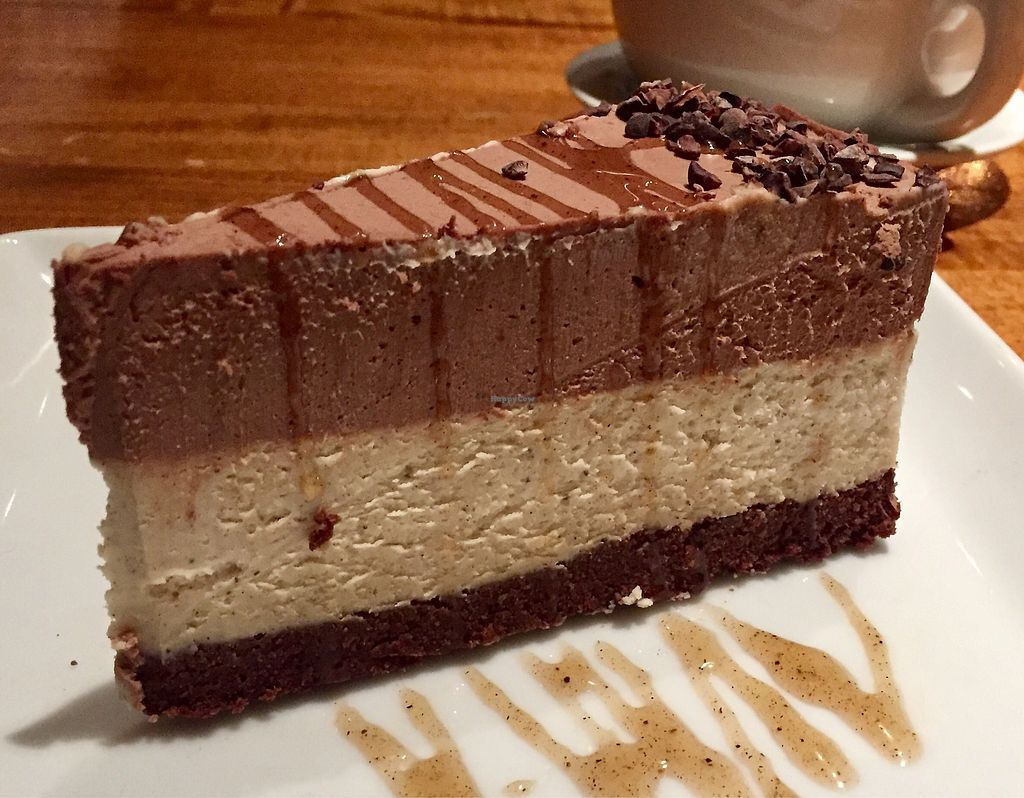 """Photo of Sage Vegan Bistro  by <a href=""""/members/profile/VeganCookieLover"""">VeganCookieLover</a> <br/>Chocolate Salted Caramel Raw Cheesecake  <br/> January 15, 2018  - <a href='/contact/abuse/image/105953/346945'>Report</a>"""
