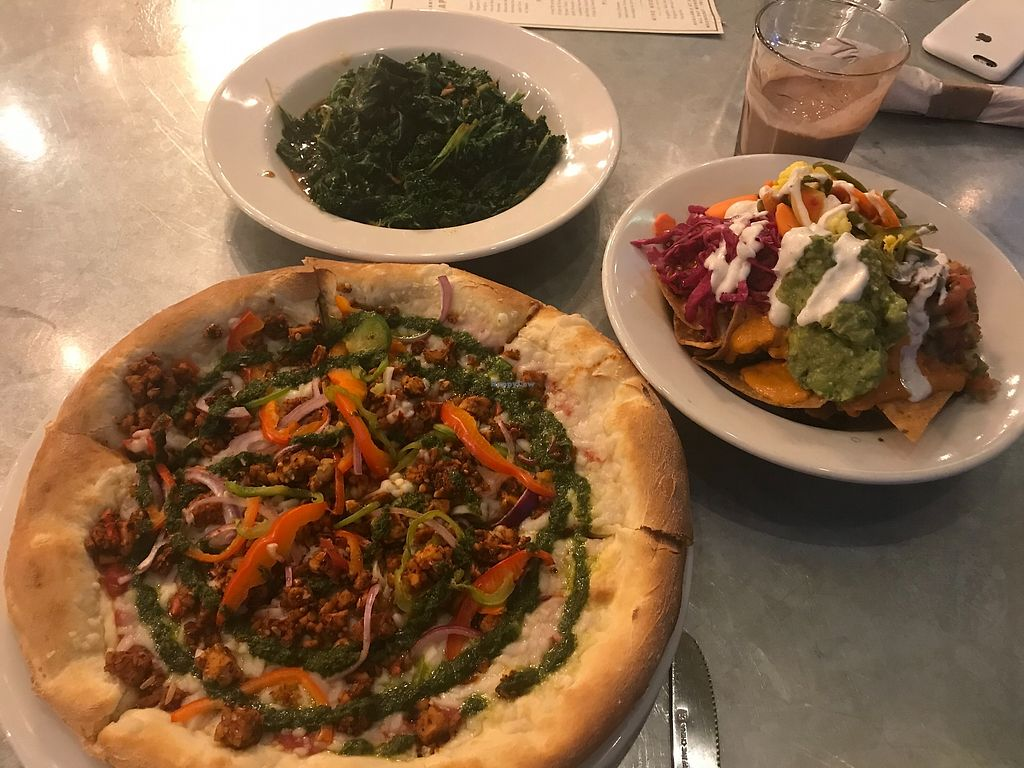 """Photo of Sage Vegan Bistro  by <a href=""""/members/profile/animalattorney"""">animalattorney</a> <br/>Nachos, Sauteed Kale and Pizza <br/> February 13, 2018  - <a href='/contact/abuse/image/105953/358812'>Report</a>"""