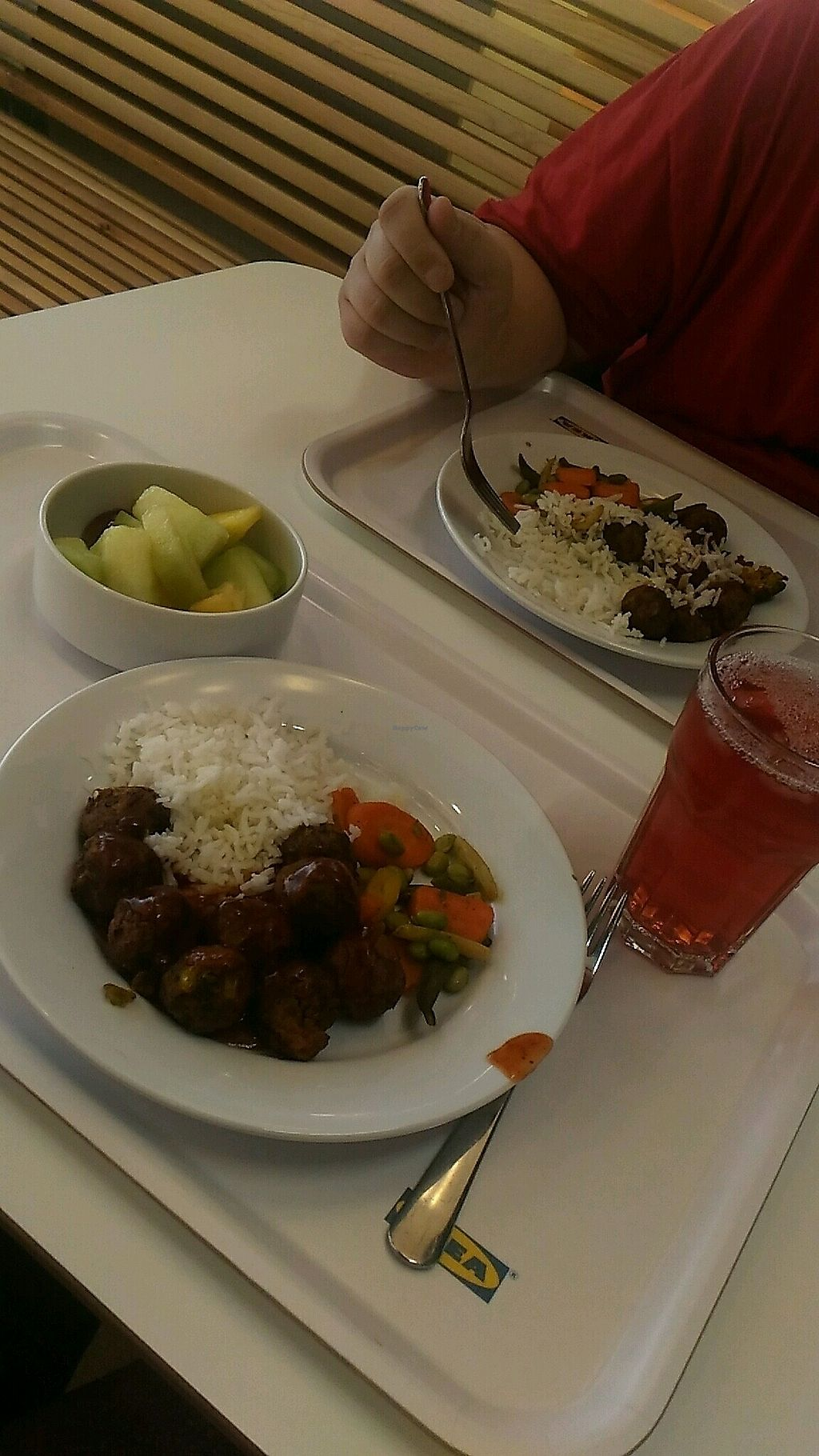 """Photo of IKEA  by <a href=""""/members/profile/QuothTheRaven"""">QuothTheRaven</a> <br/>veggie balls, lingonberry drink and friit salad <br/> November 27, 2017  - <a href='/contact/abuse/image/105992/329555'>Report</a>"""