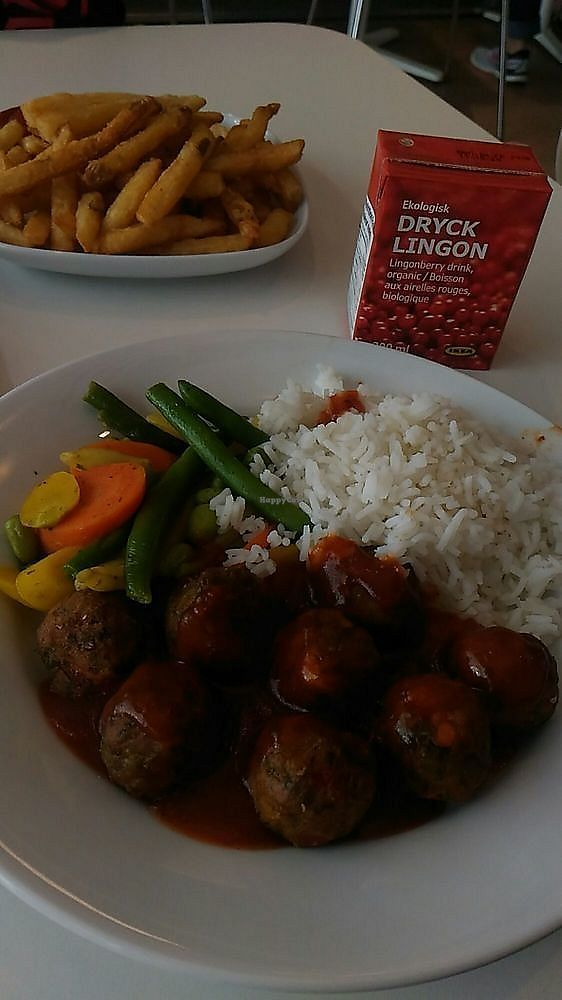 """Photo of IKEA  by <a href=""""/members/profile/QuothTheRaven"""">QuothTheRaven</a> <br/>veggie balls plate with delicious lingonberry juice and fries <br/> November 27, 2017  - <a href='/contact/abuse/image/105992/329787'>Report</a>"""