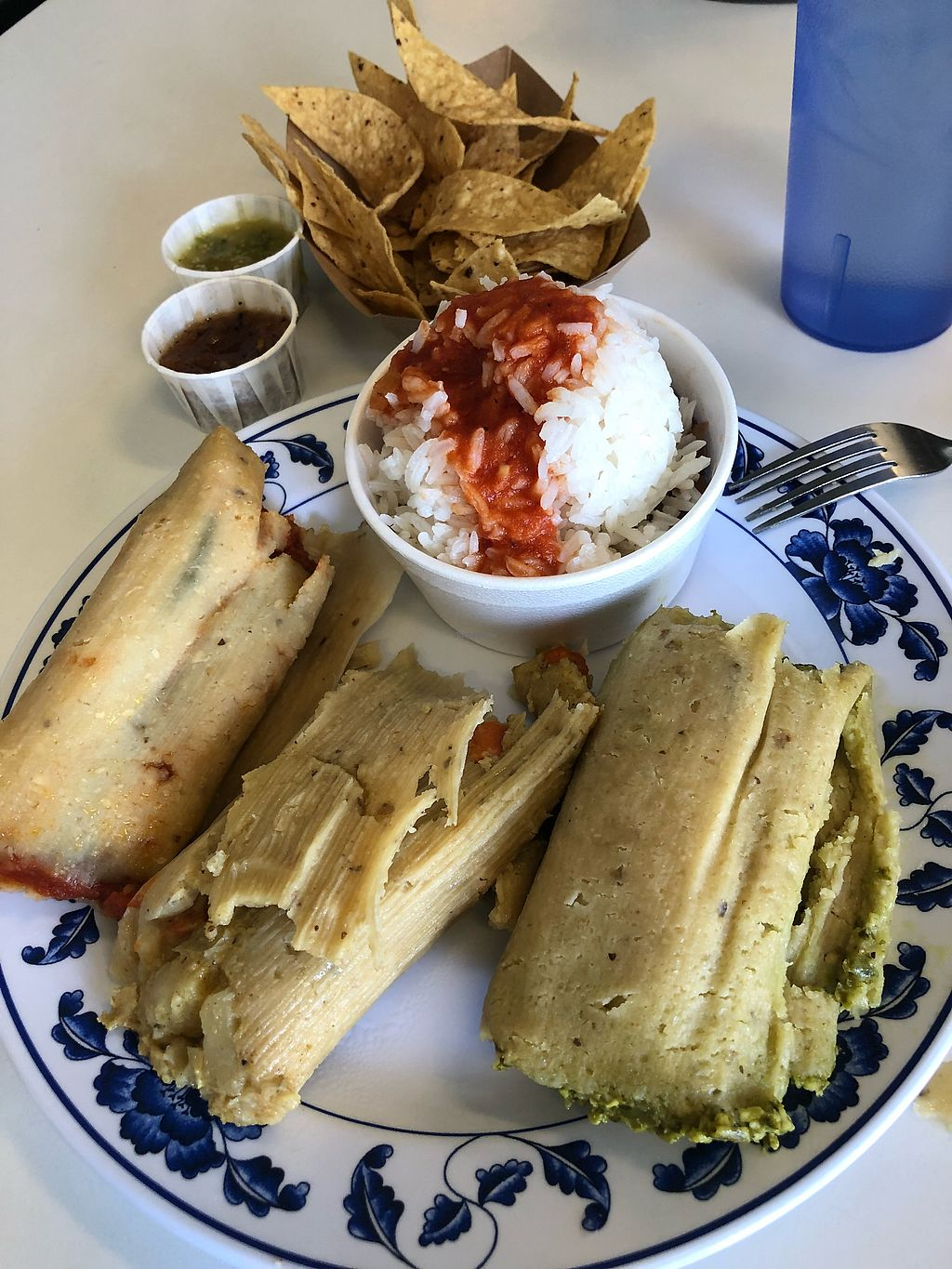 "Photo of Tamara's Tamales  by <a href=""/members/profile/Joeybrezinski"">Joeybrezinski</a> <br/>3 vegan tamales , rice beans, and chips with salsa.  <br/> November 28, 2017  - <a href='/contact/abuse/image/106005/330245'>Report</a>"