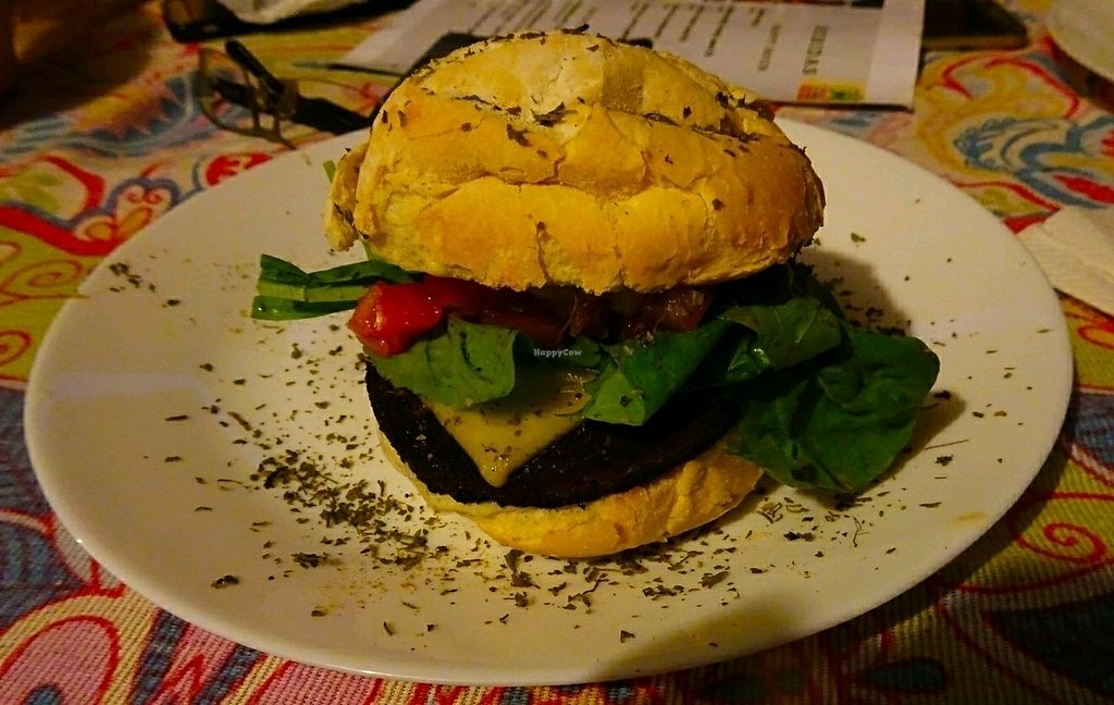 """Photo of Paraty EcoHostel e Restaurante Vegano  by <a href=""""/members/profile/Rene.Zinho"""">Rene.Zinho</a> <br/>Burger """"X-Churrasco"""" a little small, but very tasty <br/> January 5, 2018  - <a href='/contact/abuse/image/106009/343364'>Report</a>"""
