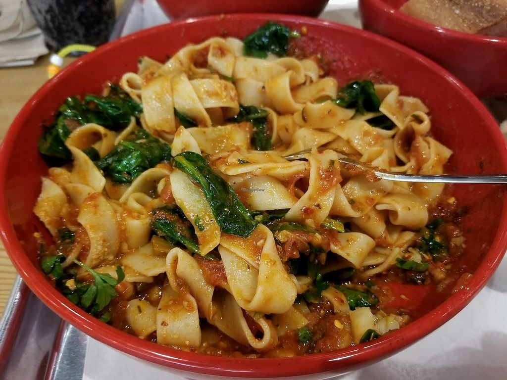 """Photo of Marino's Kitchen  by <a href=""""/members/profile/KrissyMarinelli"""">KrissyMarinelli</a> <br/>fresh paperdelle with sauteed spinach, garlic, red sauce, and lots of red pepper! amazing!! <br/> November 29, 2017  - <a href='/contact/abuse/image/106056/330614'>Report</a>"""