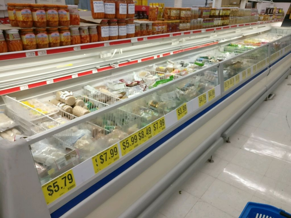 """Photo of World Foods Supermarket  by <a href=""""/members/profile/KellyBone"""">KellyBone</a> <br/>vegan frozen meats case <br/> November 28, 2017  - <a href='/contact/abuse/image/106061/329978'>Report</a>"""