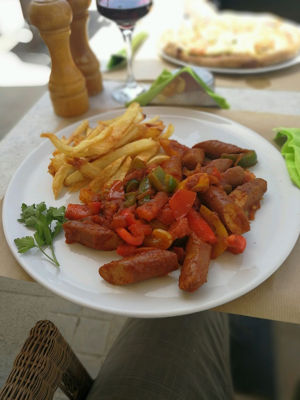 "Photo of V+ S Corner  by <a href=""/members/profile/JohnVanillah"">JohnVanillah</a> <br/>vegetarian sausages with mixed peppers <br/> April 12, 2018  - <a href='/contact/abuse/image/106078/384597'>Report</a>"