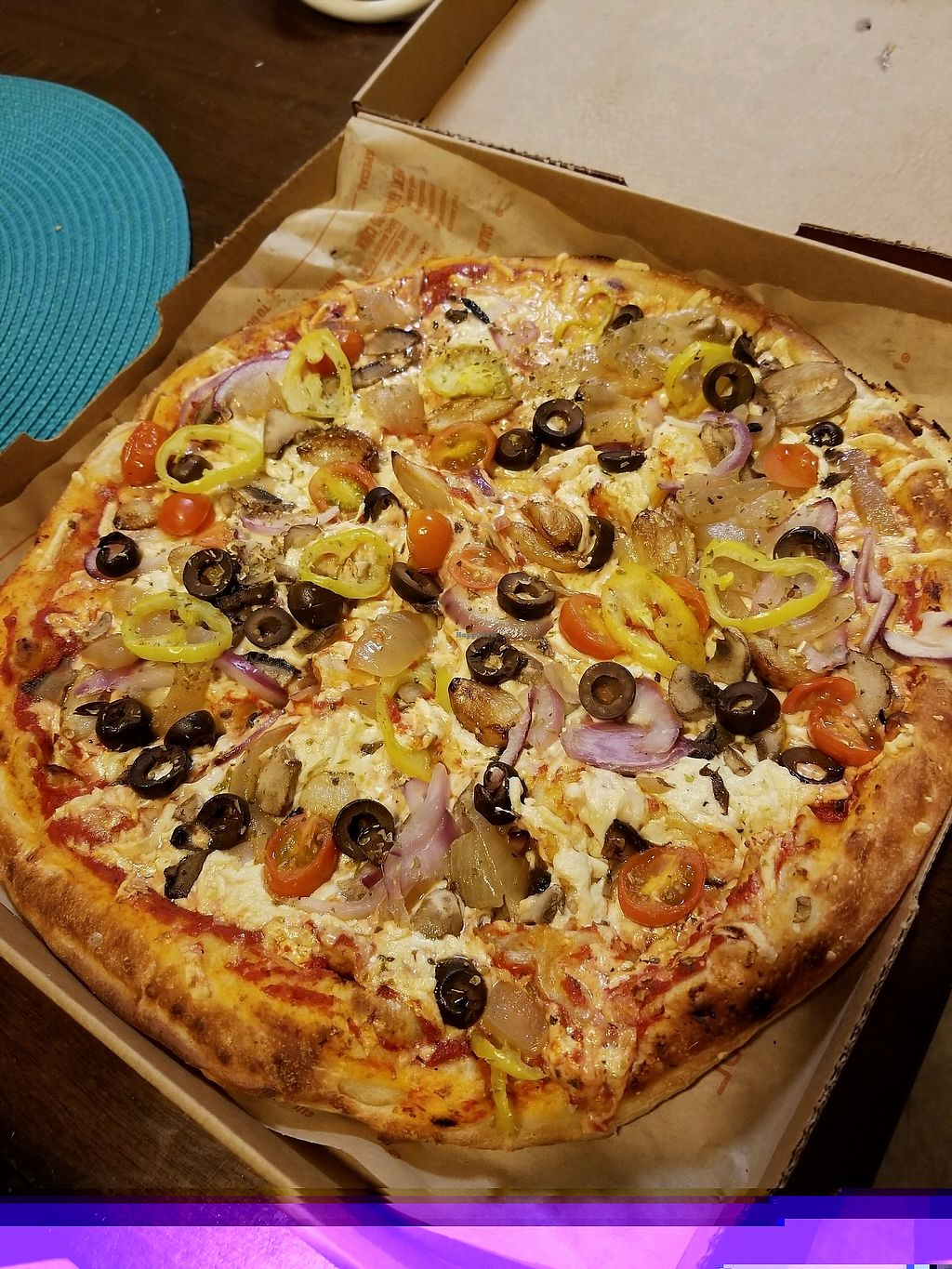 """Photo of Blaze Pizza  by <a href=""""/members/profile/VeganHammy"""">VeganHammy</a> <br/>Double crust with red sauce, Daiya, tomatoes, banana pepper, olives, sauteed onion, red onion, mushroom, roasted garlic pizza <br/> November 28, 2017  - <a href='/contact/abuse/image/106105/329930'>Report</a>"""