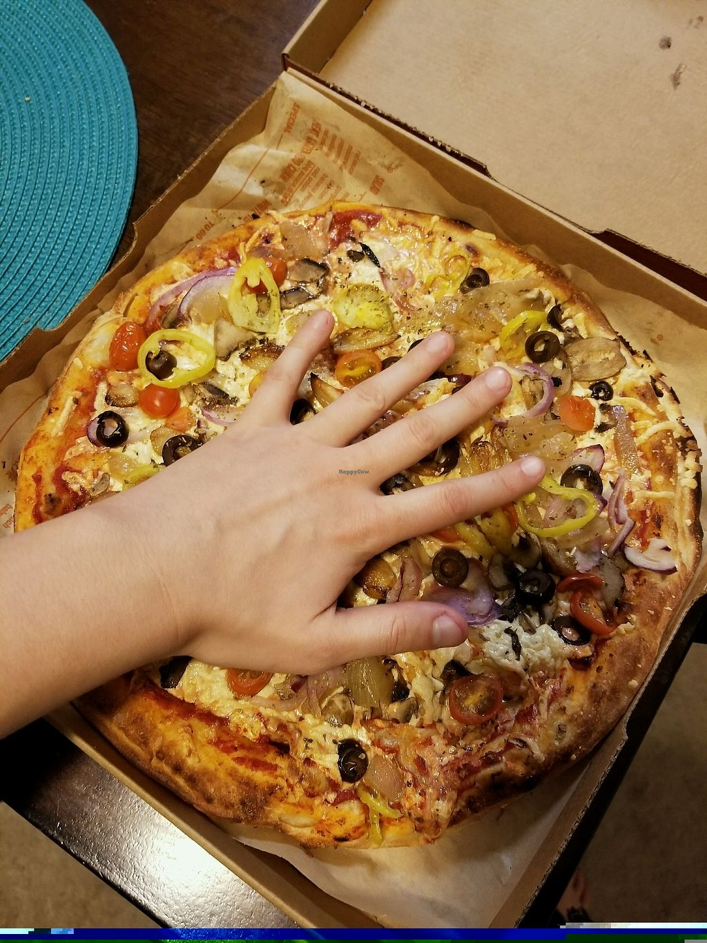 """Photo of Blaze Pizza  by <a href=""""/members/profile/VeganHammy"""">VeganHammy</a> <br/>Hand for scale <br/> November 28, 2017  - <a href='/contact/abuse/image/106105/329931'>Report</a>"""