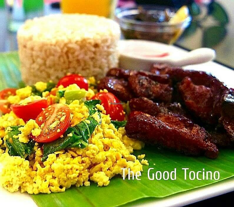 """Photo of The Good Choices  by <a href=""""/members/profile/gelanne"""">gelanne</a> <br/>Vegan Tocilog -- Serve The Good Tocino with tofu scramble and rice for that perfect Pinoy silog favorite <br/> November 29, 2017  - <a href='/contact/abuse/image/106162/330467'>Report</a>"""