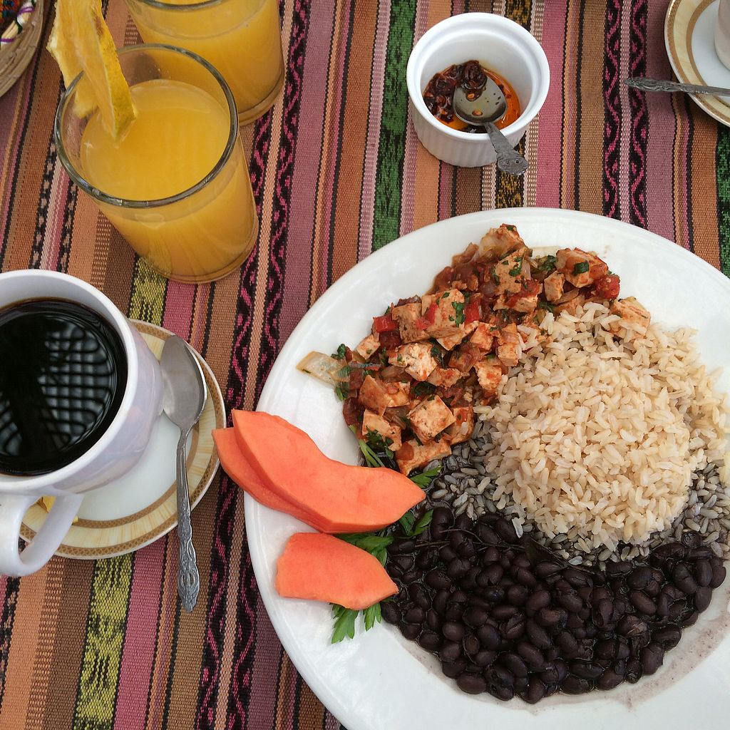 """Photo of Chinitas  by <a href=""""/members/profile/Crustina"""">Crustina</a> <br/>Vegan breakfast menu with coffee <br/> January 7, 2018  - <a href='/contact/abuse/image/106167/344035'>Report</a>"""