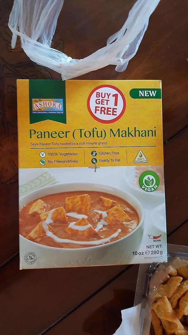 """Photo of Namaste India Groceries and Vegetables  by <a href=""""/members/profile/debbiesmall"""">debbiesmall</a> <br/>Vegan .  Delicious with rice. Just pop in microwave  <br/> November 29, 2017  - <a href='/contact/abuse/image/106175/330725'>Report</a>"""