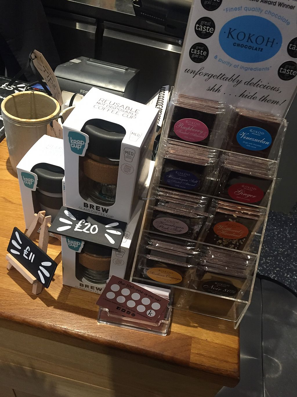"Photo of Kalm Kitchen Cafe  by <a href=""/members/profile/bakeydoesntbake"">bakeydoesntbake</a> <br/>Reusable coffee cups & chocolate (some vegan) <br/> April 1, 2018  - <a href='/contact/abuse/image/106176/379559'>Report</a>"