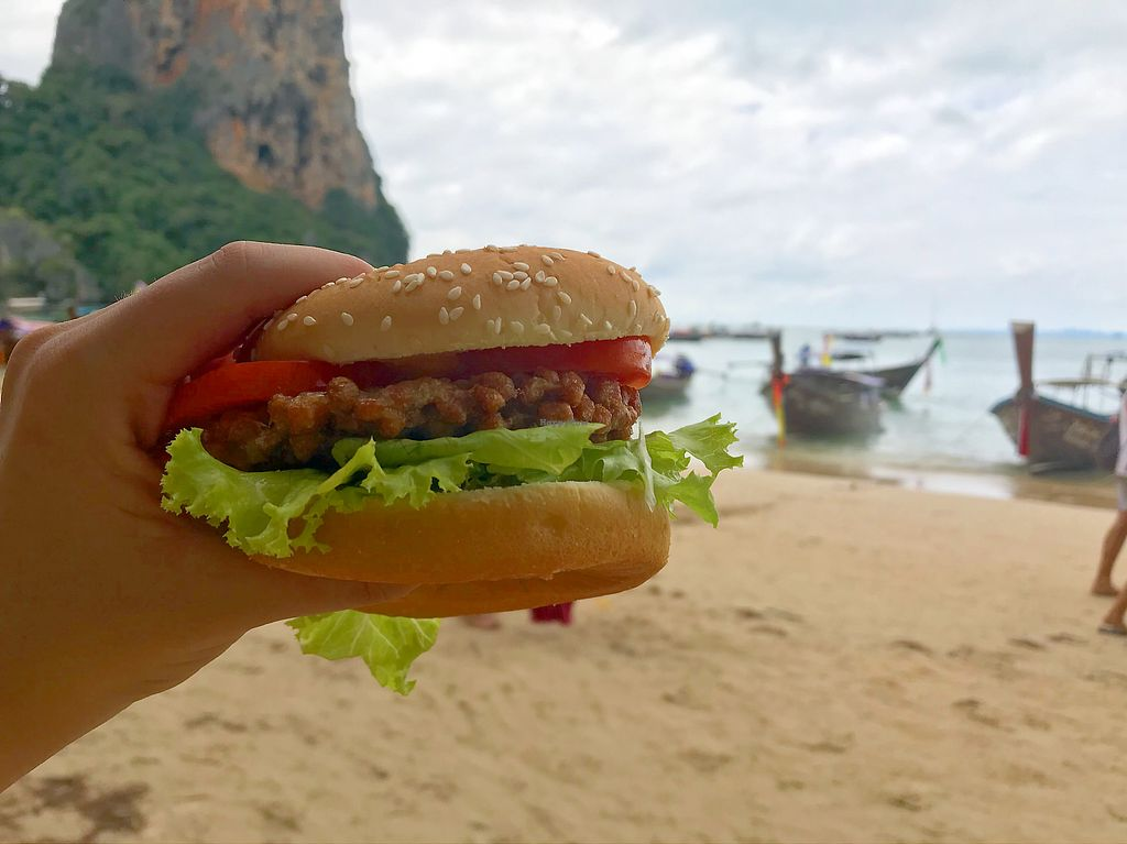 """Photo of Govinda's at the Beach  by <a href=""""/members/profile/TravelVeggie"""">TravelVeggie</a> <br/>Yummy burgers by the beach  <br/> December 7, 2017  - <a href='/contact/abuse/image/106281/332994'>Report</a>"""