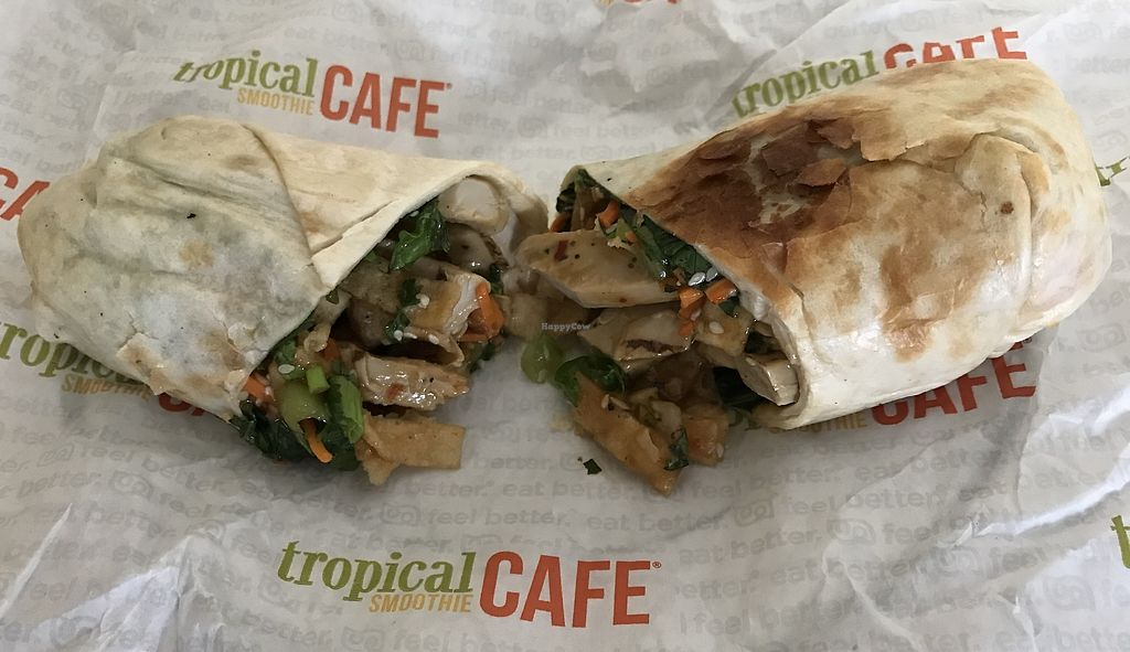 """Photo of Tropical Smoothie Cafe  by <a href=""""/members/profile/Alysoun%20Mahoney"""">Alysoun Mahoney</a> <br/>Thai """"chicken"""" wrap with Beyond Meat vegan chicken <br/> December 8, 2017  - <a href='/contact/abuse/image/106316/333278'>Report</a>"""