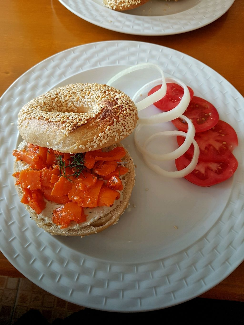 """Photo of Big Apple Bakery - temporarily closed  by <a href=""""/members/profile/Carrothuntress"""">Carrothuntress</a> <br/>Vegan Salmonbagel with creamed cheese <br/> December 28, 2017  - <a href='/contact/abuse/image/106340/339845'>Report</a>"""