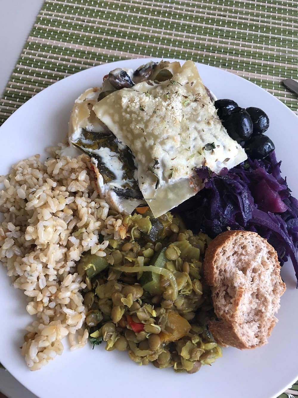 """Photo of Bosque  by <a href=""""/members/profile/Lara-RoseTadman"""">Lara-RoseTadman</a> <br/>Mushroom and spinach lasagna (amazing) with red cabbage, rice and lentils YUM  <br/> April 15, 2018  - <a href='/contact/abuse/image/106384/386373'>Report</a>"""