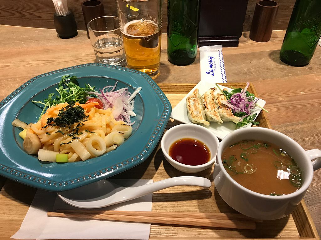 """Photo of T's Tantan - Ueno  by <a href=""""/members/profile/chris10kors"""">chris10kors</a> <br/>Veggie cod roe udon with vegetable dumplings  <br/> February 1, 2018  - <a href='/contact/abuse/image/106436/353428'>Report</a>"""