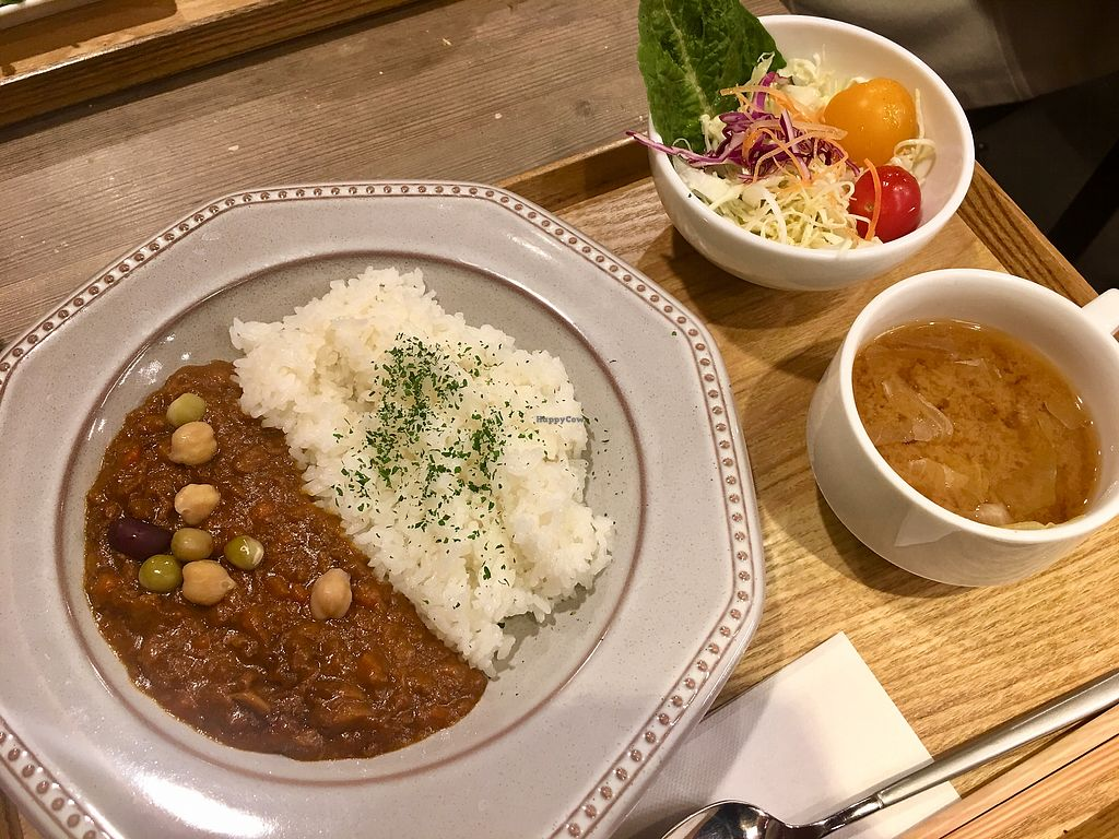 """Photo of T's Tantan - Ueno  by <a href=""""/members/profile/MartaTer"""">MartaTer</a> <br/>Very spice but really tasty Veggie keema curry + soup + salad. ¥880 <br/> March 22, 2018  - <a href='/contact/abuse/image/106436/374179'>Report</a>"""