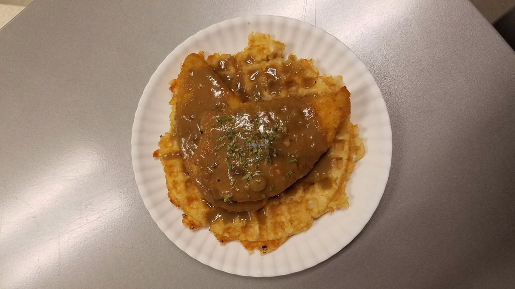 """Photo of Soul Waffle  by <a href=""""/members/profile/Danushi"""">Danushi</a> <br/>Tatertot waffle, vegan chicken bathed in mushroom gravy <br/> December 3, 2017  - <a href='/contact/abuse/image/106439/331664'>Report</a>"""