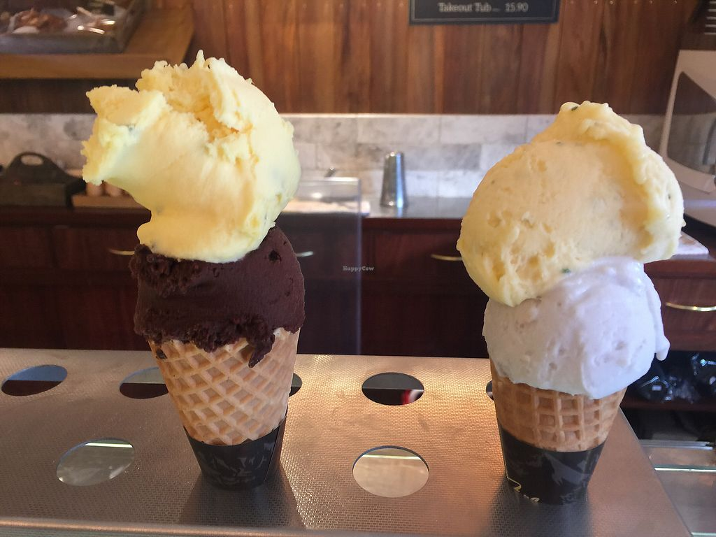 """Photo of Mrs Ferg Gelateria - Shotover St  by <a href=""""/members/profile/Tiggy"""">Tiggy</a> <br/>Passion fruit/chocolate and Lychee-lime-mint/coconut $6.90 each <br/> January 17, 2018  - <a href='/contact/abuse/image/106464/347742'>Report</a>"""