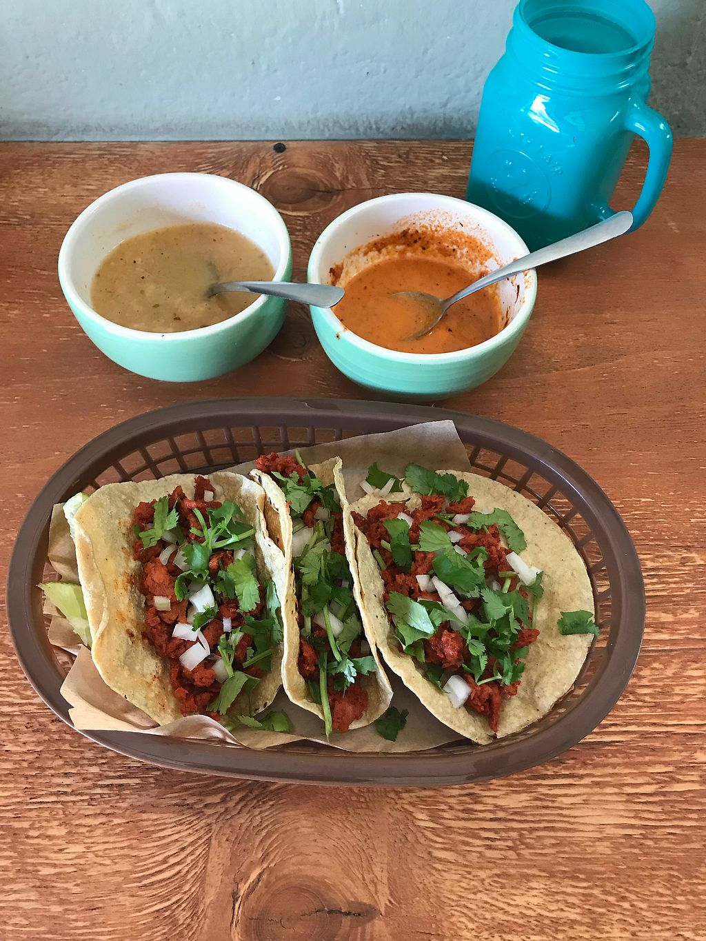 "Photo of Veggie Happy  by <a href=""/members/profile/rackoo"">rackoo</a> <br/>Delicious taco combo.  Soy tacos al pastor.  Housemade salsas and agua del dia.  Very good! <br/> January 14, 2018  - <a href='/contact/abuse/image/106534/346558'>Report</a>"