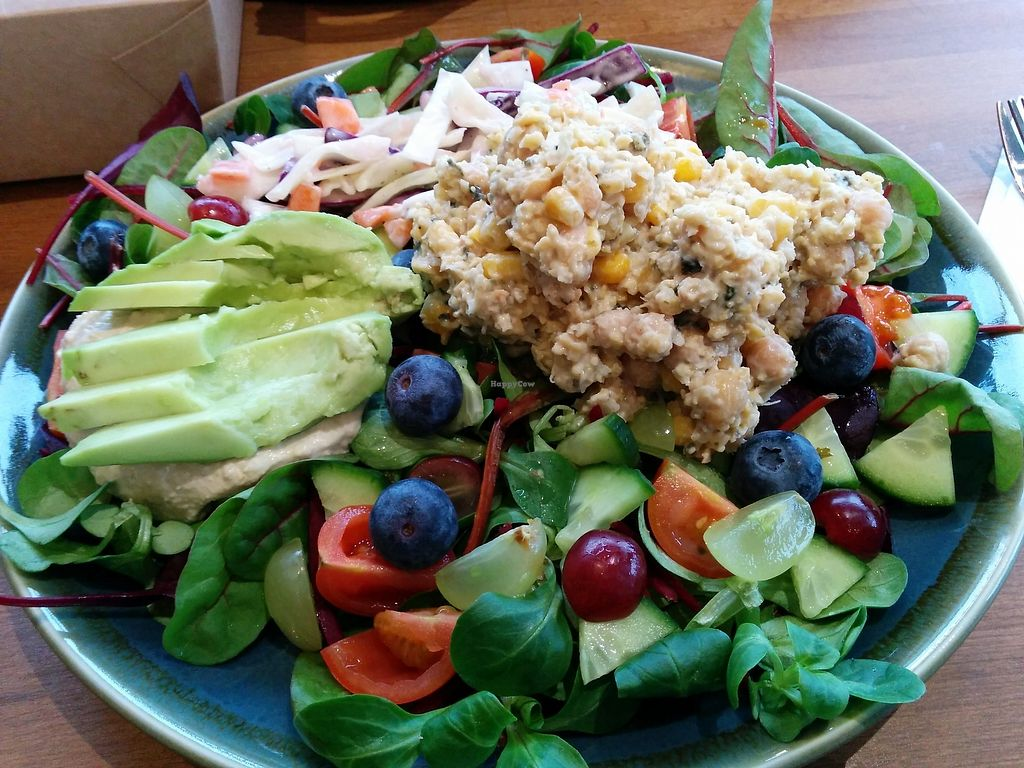 """Photo of The Acorn Veggie Deli  by <a href=""""/members/profile/CLRtraveller"""">CLRtraveller</a> <br/>salad of the day, this one topped with (vegan) tuna sandwich filling <br/> January 10, 2018  - <a href='/contact/abuse/image/106560/345072'>Report</a>"""