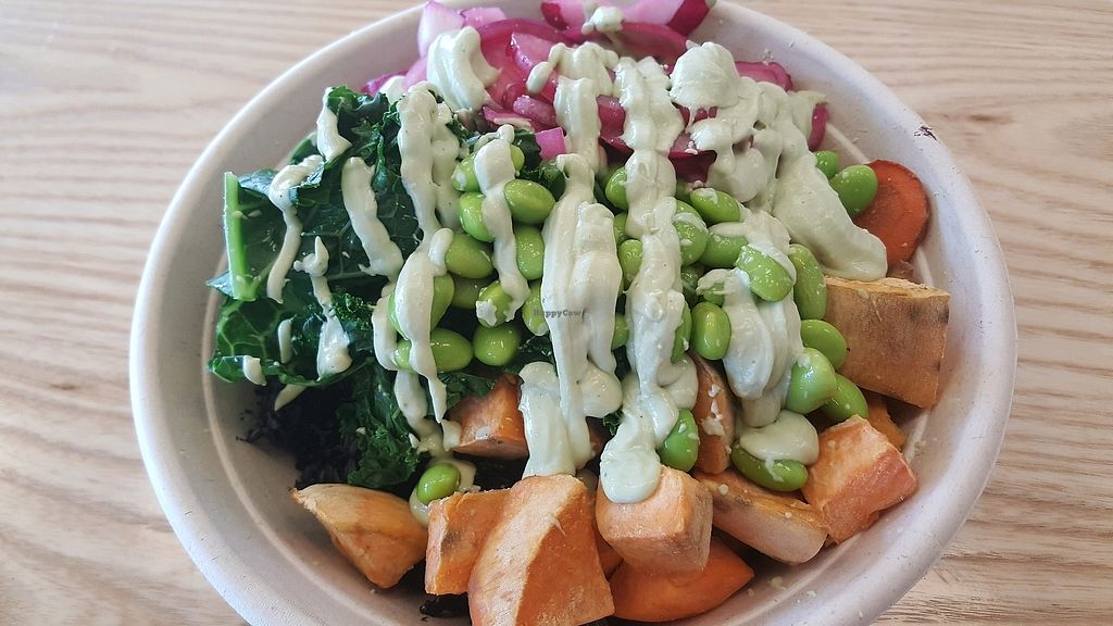 """Photo of Honest Mary's  by <a href=""""/members/profile/SusanElizondo"""">SusanElizondo</a> <br/>Forbidden rice, sweet potatoes, edamame, carrots, mushrooms, pickled onions, steamed kale, and cashew lime crema  <br/> December 11, 2017  - <a href='/contact/abuse/image/106646/334485'>Report</a>"""
