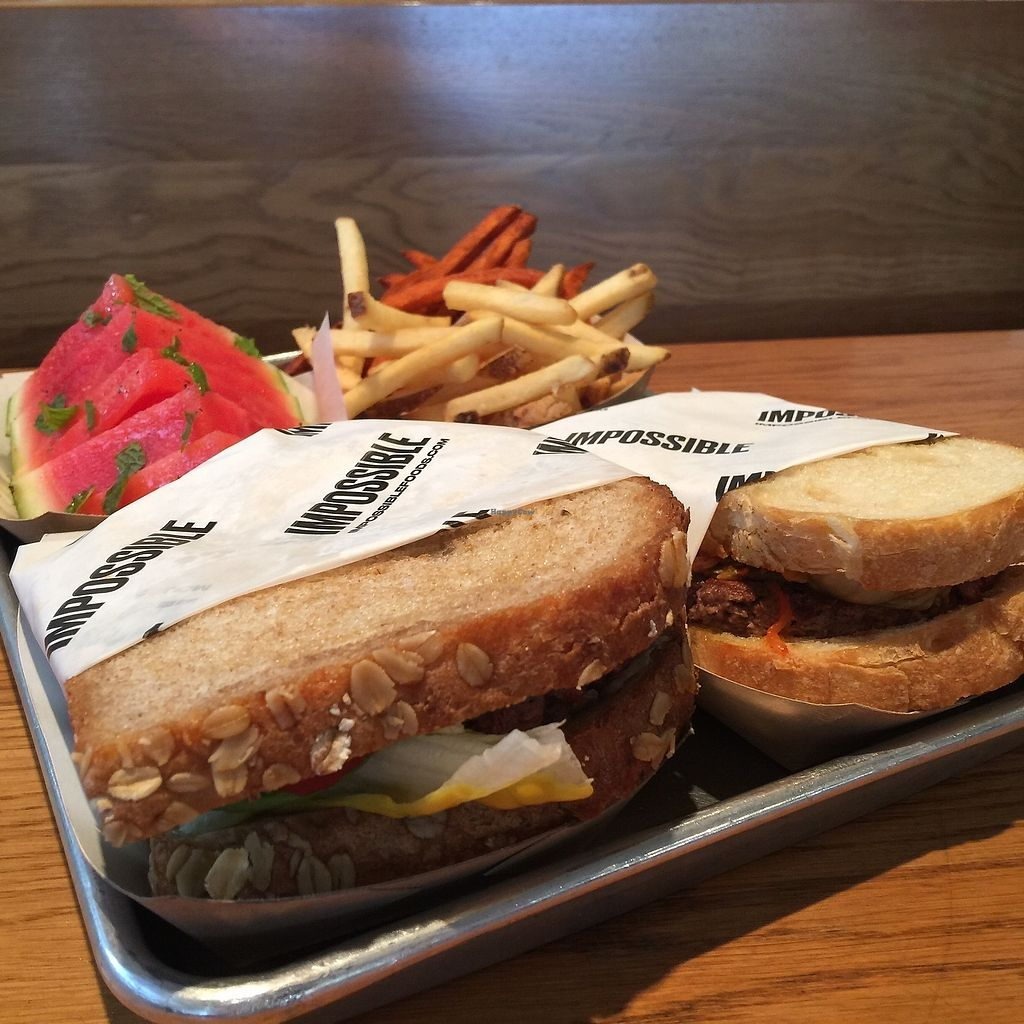 """Photo of Gott's Roadside  by <a href=""""/members/profile/Napa%20Valley%20Vegan"""">Napa Valley Vegan</a> <br/>The vegan Impossible Burger on vegan bread <br/> December 6, 2017  - <a href='/contact/abuse/image/106654/332805'>Report</a>"""