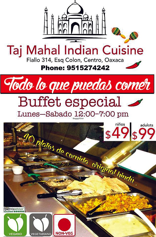 """Photo of Taj Mahal   by <a href=""""/members/profile/indiancusine"""">indiancusine</a> <br/>the best option for veg and vegan , buffet monday to saturday all you can eat only for 99 peso <br/> January 22, 2018  - <a href='/contact/abuse/image/106676/349604'>Report</a>"""