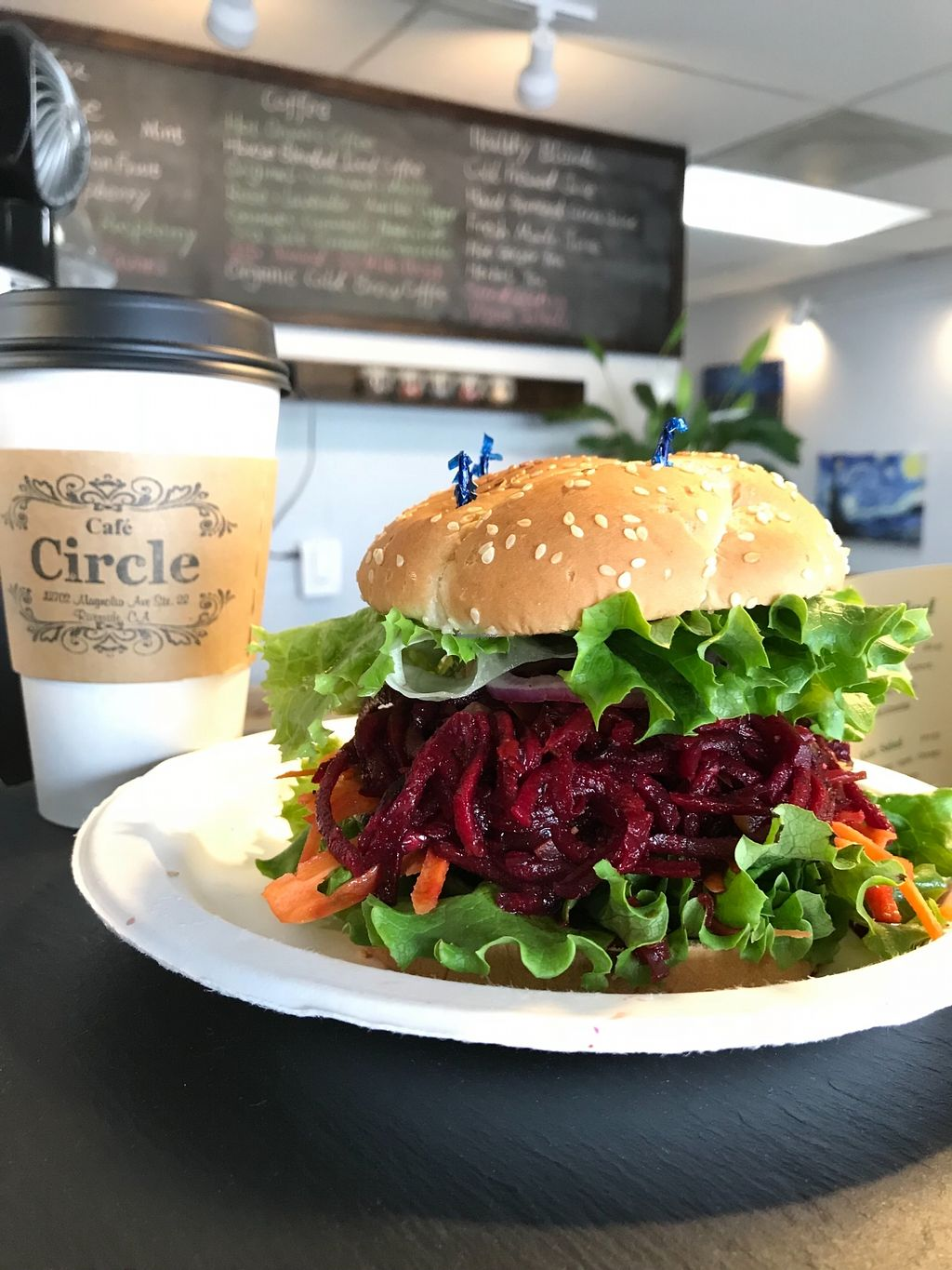 """Photo of Cafe Circle  by <a href=""""/members/profile/happy1"""">happy1</a> <br/>Vegan beet Burger  <br/> January 31, 2018  - <a href='/contact/abuse/image/106681/352973'>Report</a>"""