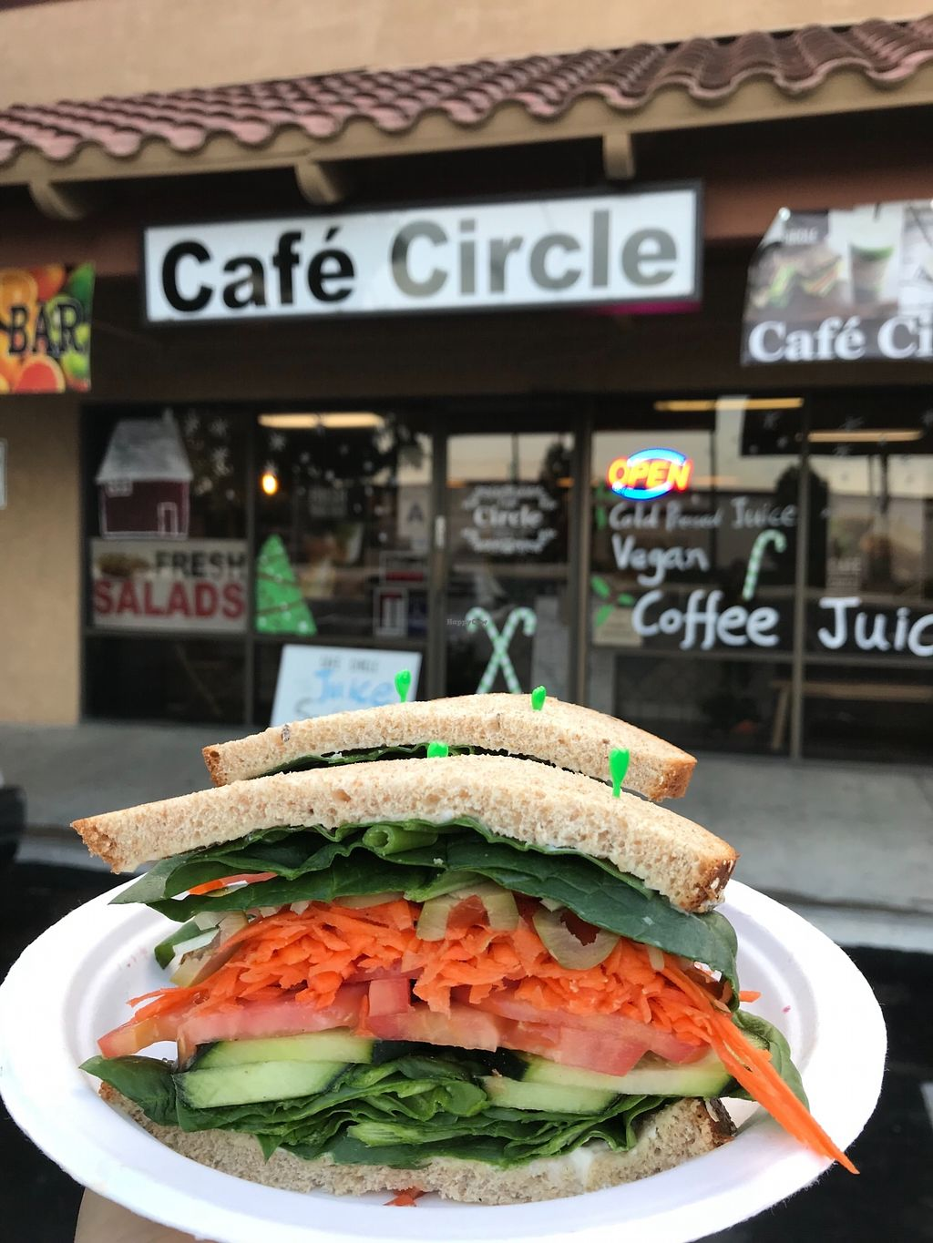"""Photo of Cafe Circle  by <a href=""""/members/profile/happy1"""">happy1</a> <br/>Vegan spinach sandwich <br/> January 31, 2018  - <a href='/contact/abuse/image/106681/352974'>Report</a>"""
