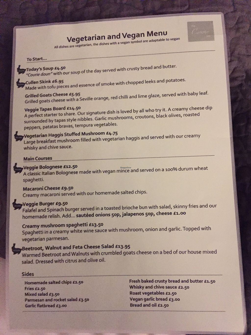 """Photo of The Courie Inn  by <a href=""""/members/profile/ChristineMcLaughlin"""">ChristineMcLaughlin</a> <br/>Veg/vegan menu <br/> December 7, 2017  - <a href='/contact/abuse/image/106733/333047'>Report</a>"""