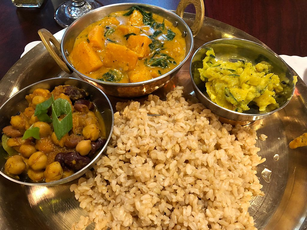 """Photo of Himalayan Organic Cafe  by <a href=""""/members/profile/Forman"""">Forman</a> <br/>Saag Farsi, squash & green chard in tomato sauce, mixed bean, chutney.  <br/> December 22, 2017  - <a href='/contact/abuse/image/106760/337982'>Report</a>"""