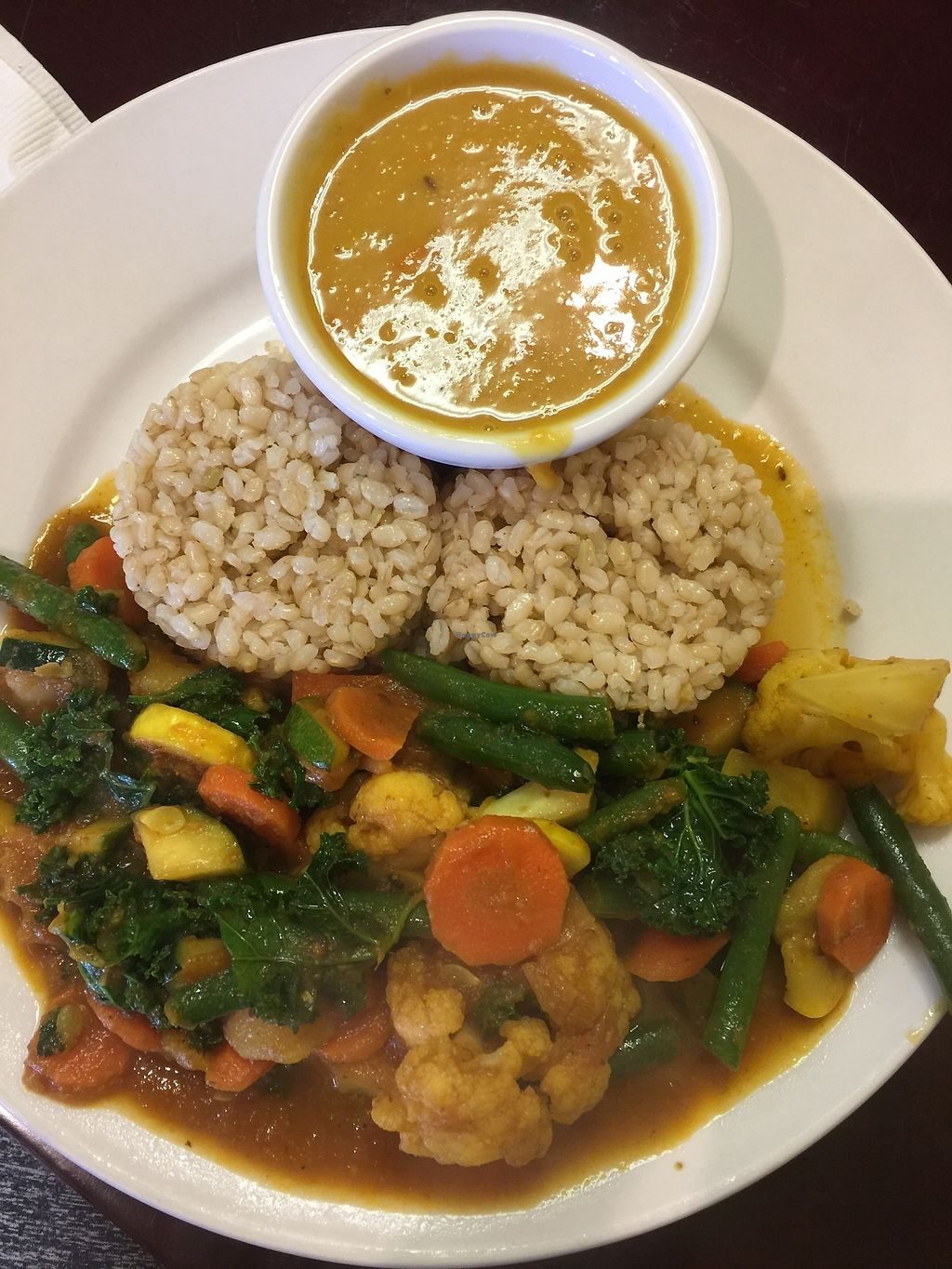 """Photo of Himalayan Organic Cafe  by <a href=""""/members/profile/Eforbes"""">Eforbes</a> <br/>Veggie Tomato Curry with Lentil Soup <br/> January 6, 2018  - <a href='/contact/abuse/image/106760/343752'>Report</a>"""