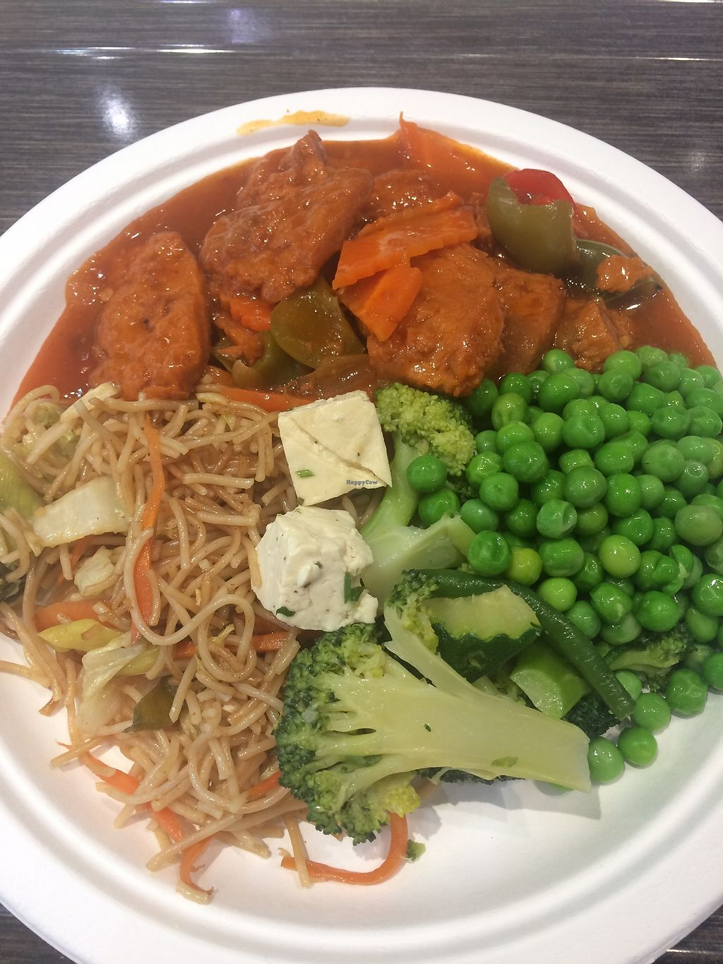 """Photo of Loving Hut - Spalena  by <a href=""""/members/profile/AnetaB%C3%A1rtov%C3%A1"""">AnetaBártová</a> <br/>My favorite lunch combo - veggies, noodles and soy meat!  <br/> December 13, 2017  - <a href='/contact/abuse/image/106853/335260'>Report</a>"""